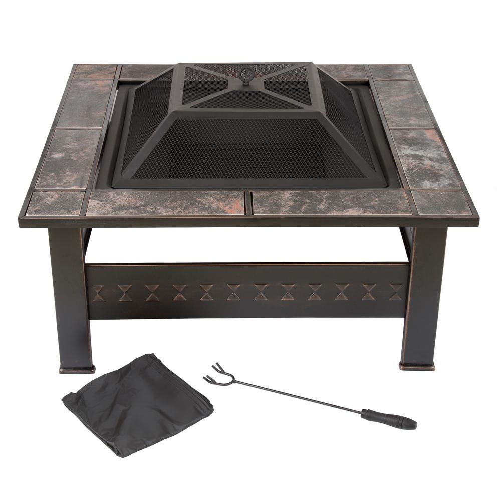 Pure Garden 32 In Steel Square Tile Fire Pit With Cover M150074 inside dimensions 1000 X 1000