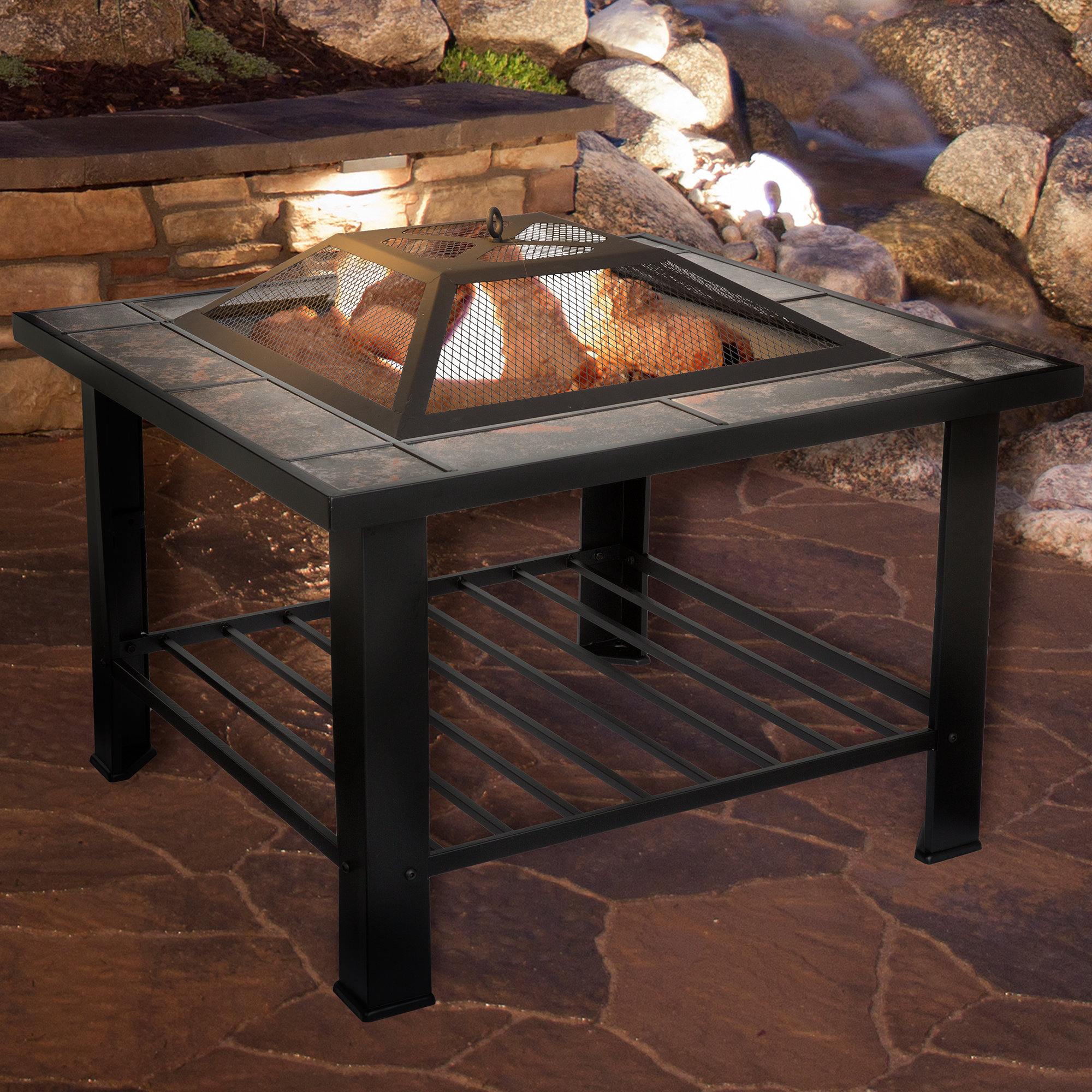 Pure Garden Steel Wood Burning Fire Pit Table Reviews Wayfair inside sizing 2000 X 2000