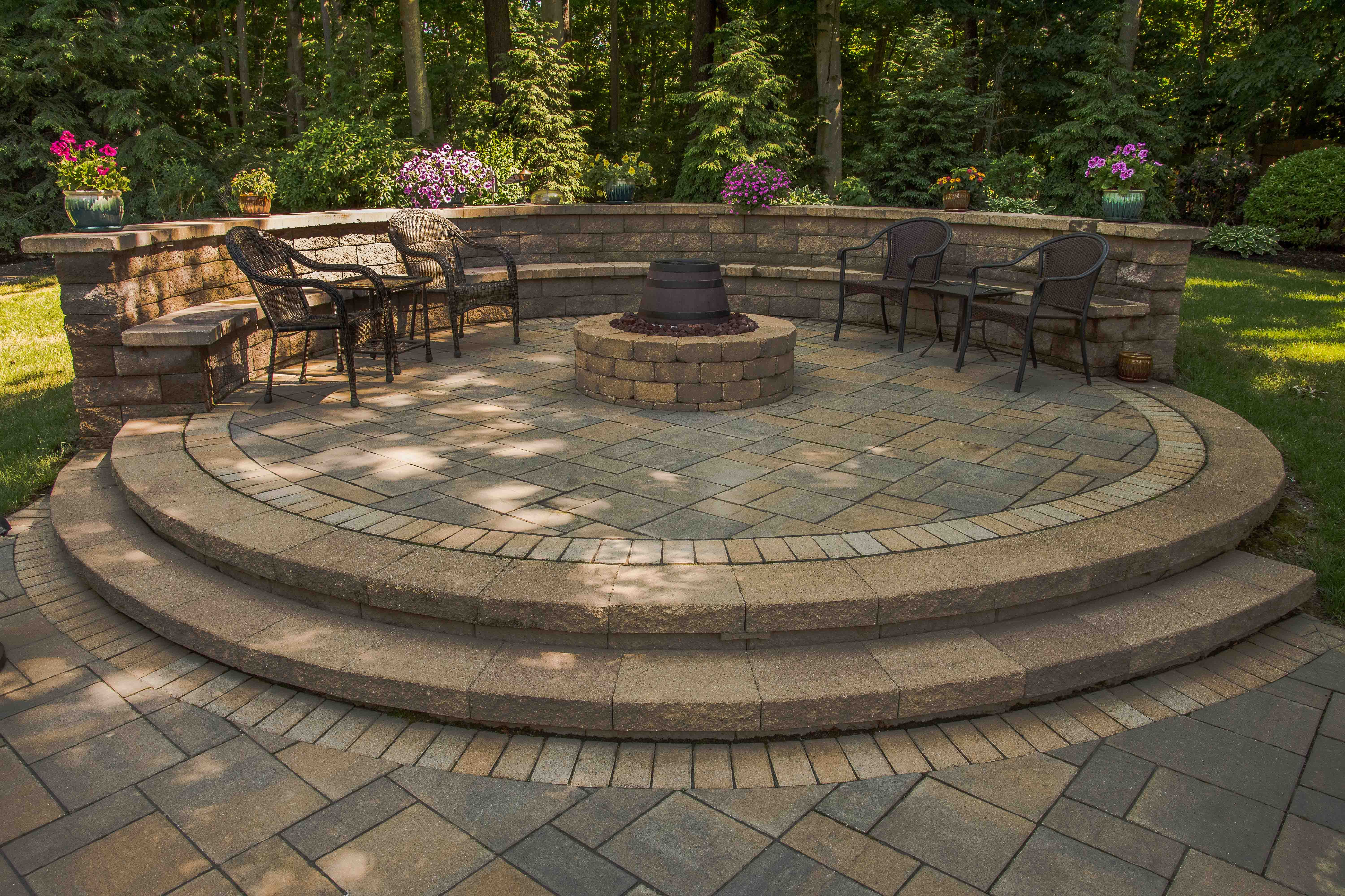 Raised Paver Patio Gas Fire Pit Sitting Wall With Backrest with regard to size 6000 X 4000
