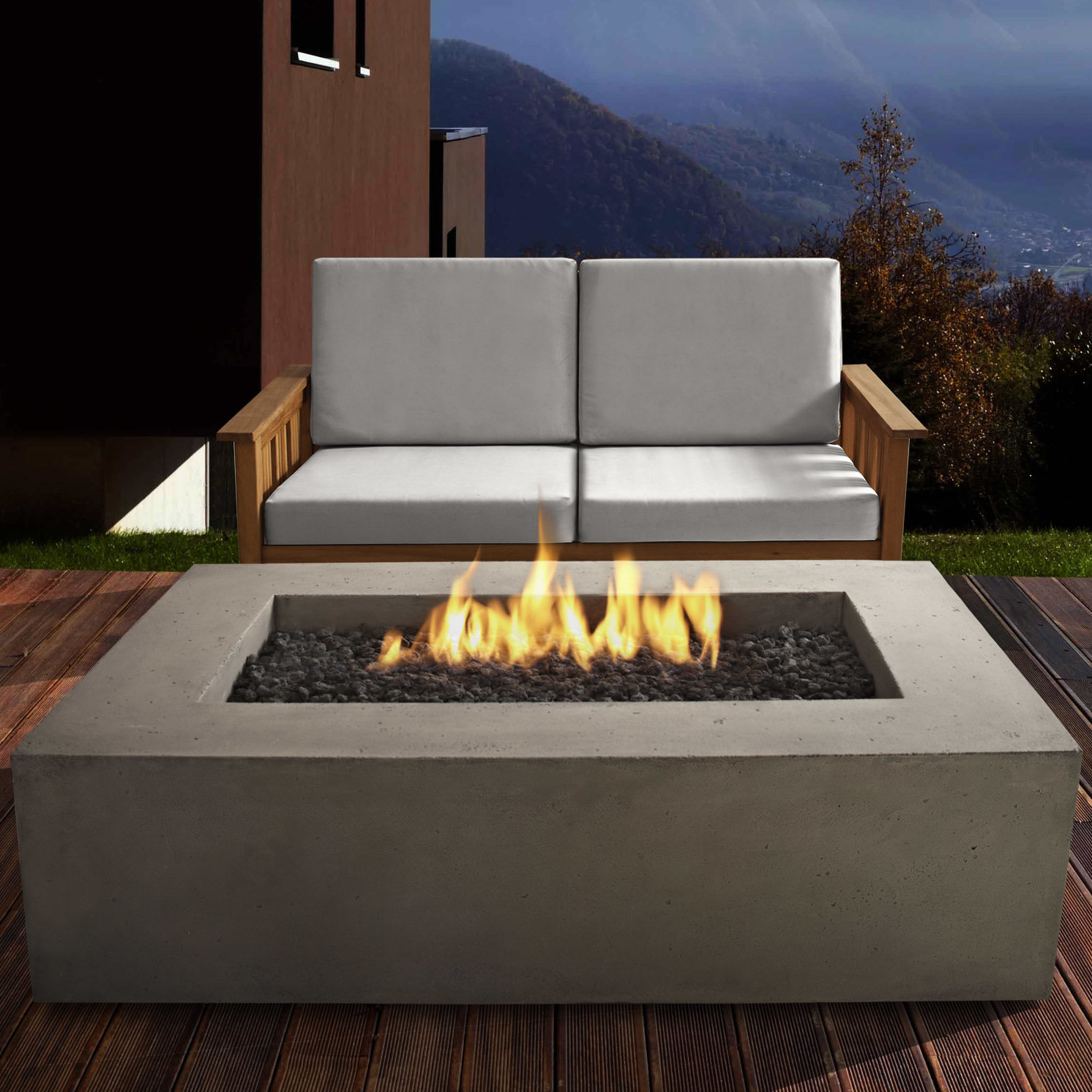 Real Flame Baltic Concrete Propane Fire Pit Table Reviews Wayfair with regard to measurements 1492 X 1492