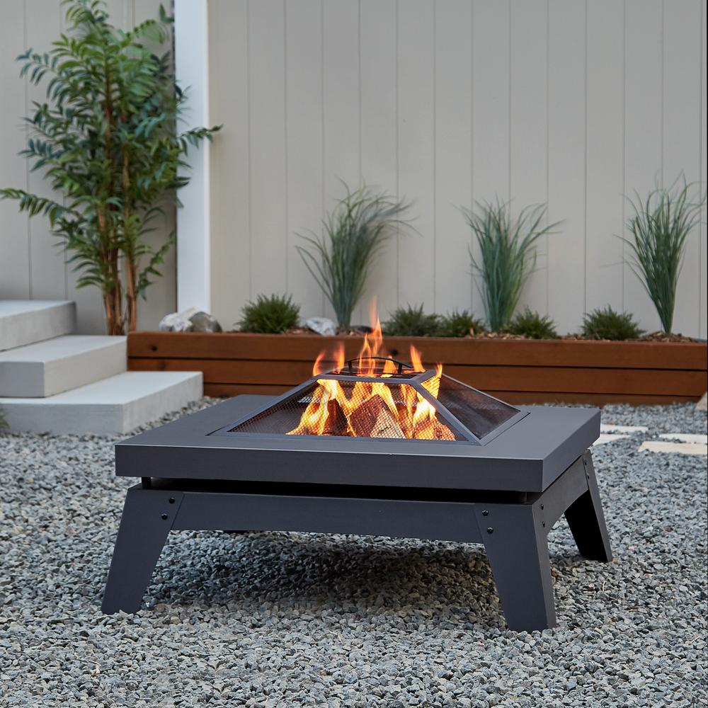 Real Flame Breton 37 In X 20 In Square Steel Wood Burning Fire Pit within proportions 1000 X 1000