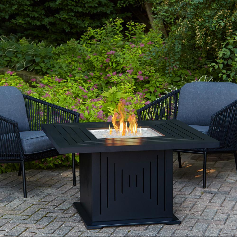 Real Flame Cavalier 43 In Aluminum Propane Fire Pit Table In Black with regard to proportions 1000 X 1000
