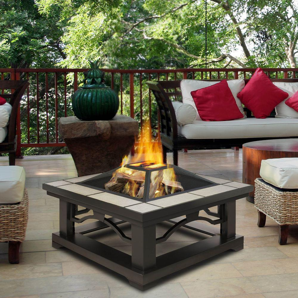 Real Flame Crestone 34 In Steel Framed Wood Burning Fire Pit With for dimensions 1000 X 1000