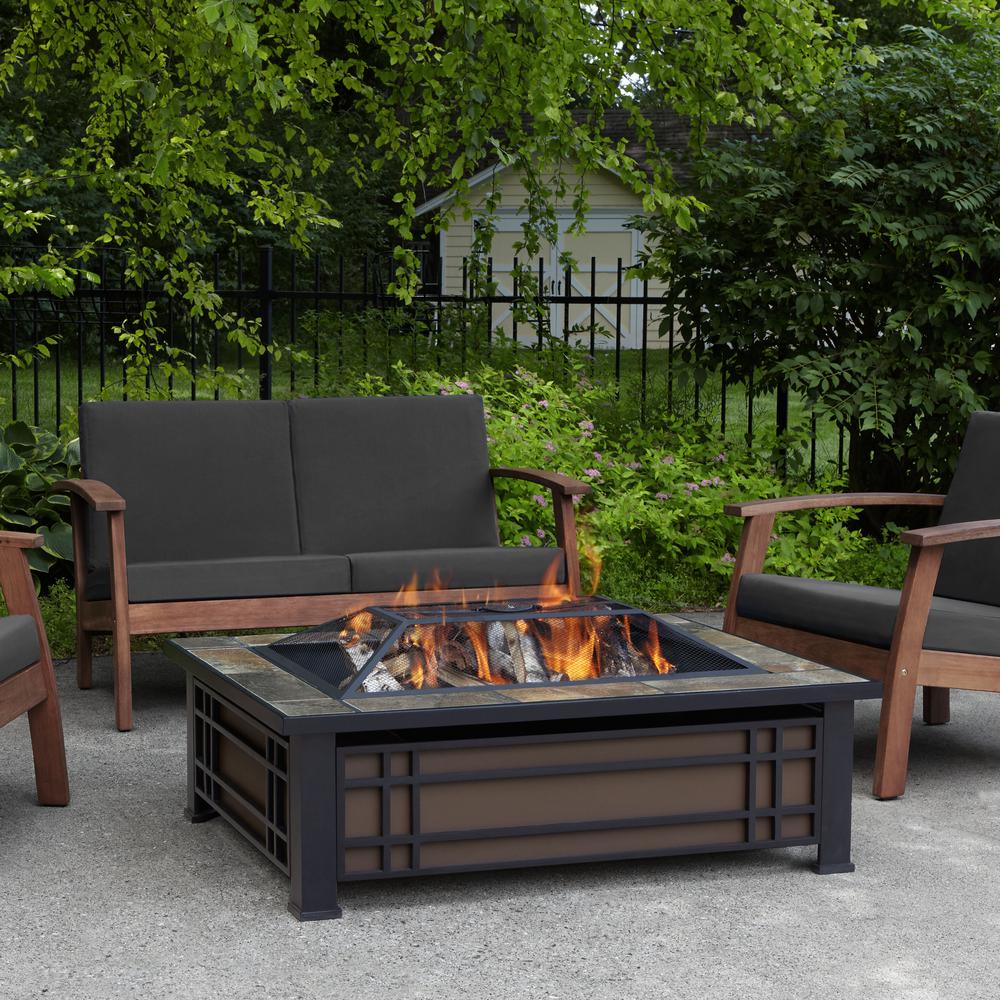 Real Flame Hamilton 44 In X 13 In Rectangle Steel And Slate inside dimensions 1000 X 1000