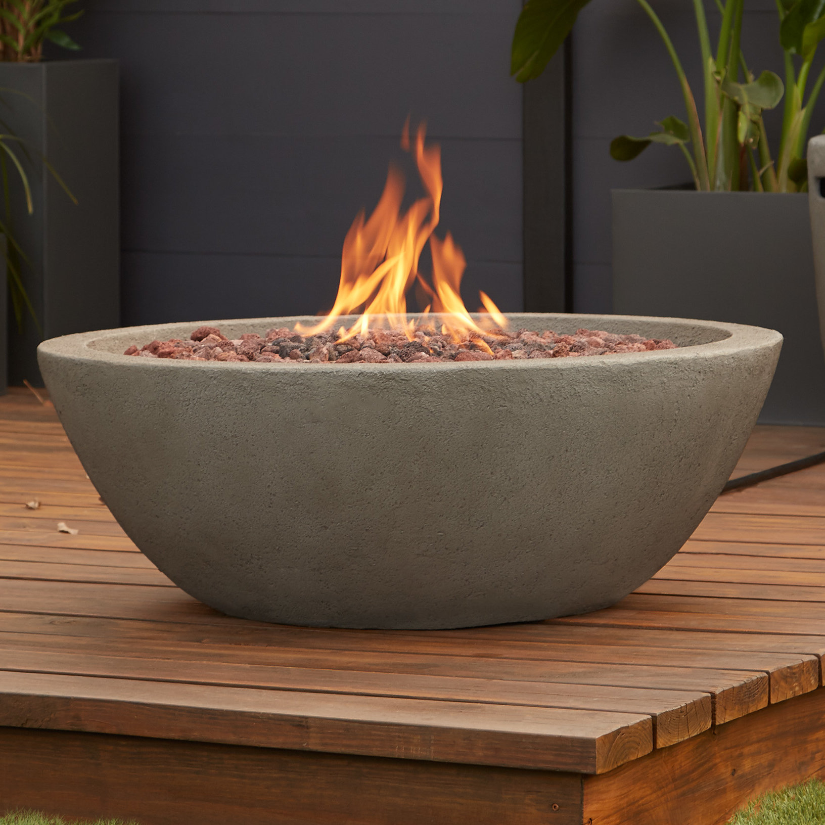Real Flame Riverside Concrete Propane Gas Fire Pit Reviews Wayfair inside dimensions 1632 X 1632