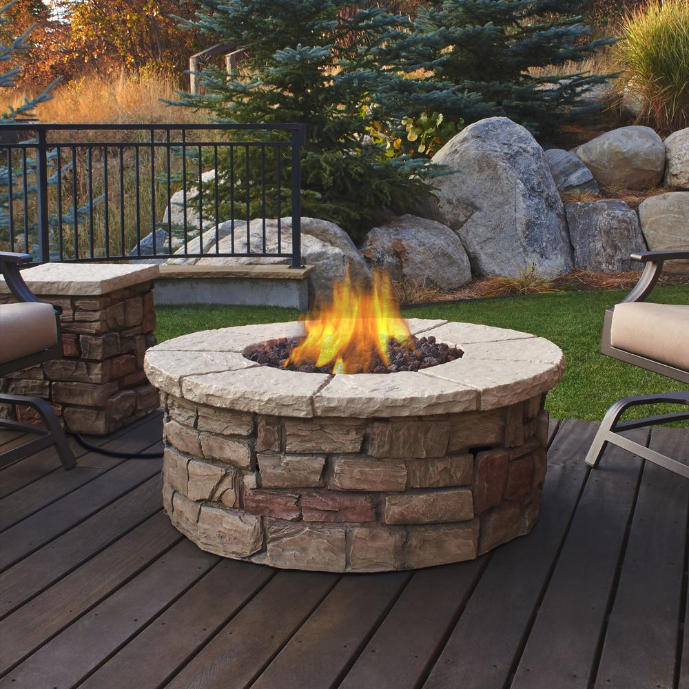 Real Flame Sedona 43 In X 17 In Round Fiber Concrete Propane Fire for size 1000 X 1000