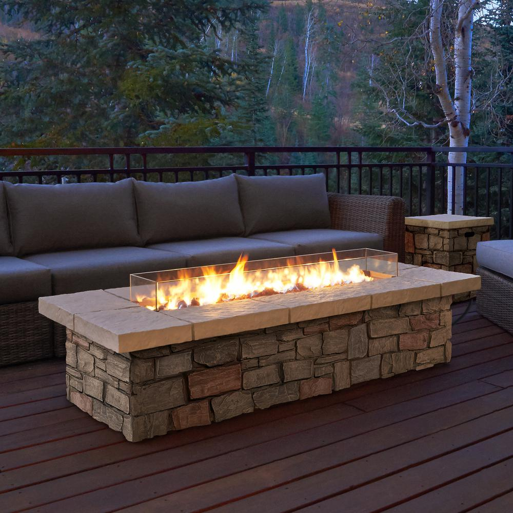 Real Flame Sedona 66 In X 19 In Rectangle Fiber Concrete Propane for proportions 1000 X 1000