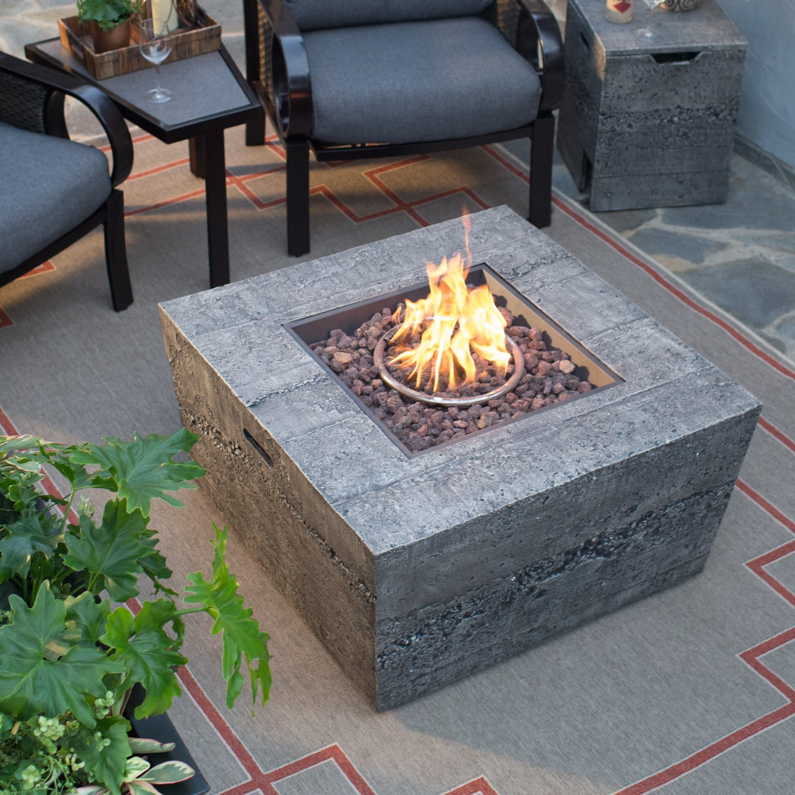 Red Ember Glacier Stone 35 In Square Gas Fire Pit Table With Free for size 1600 X 1600