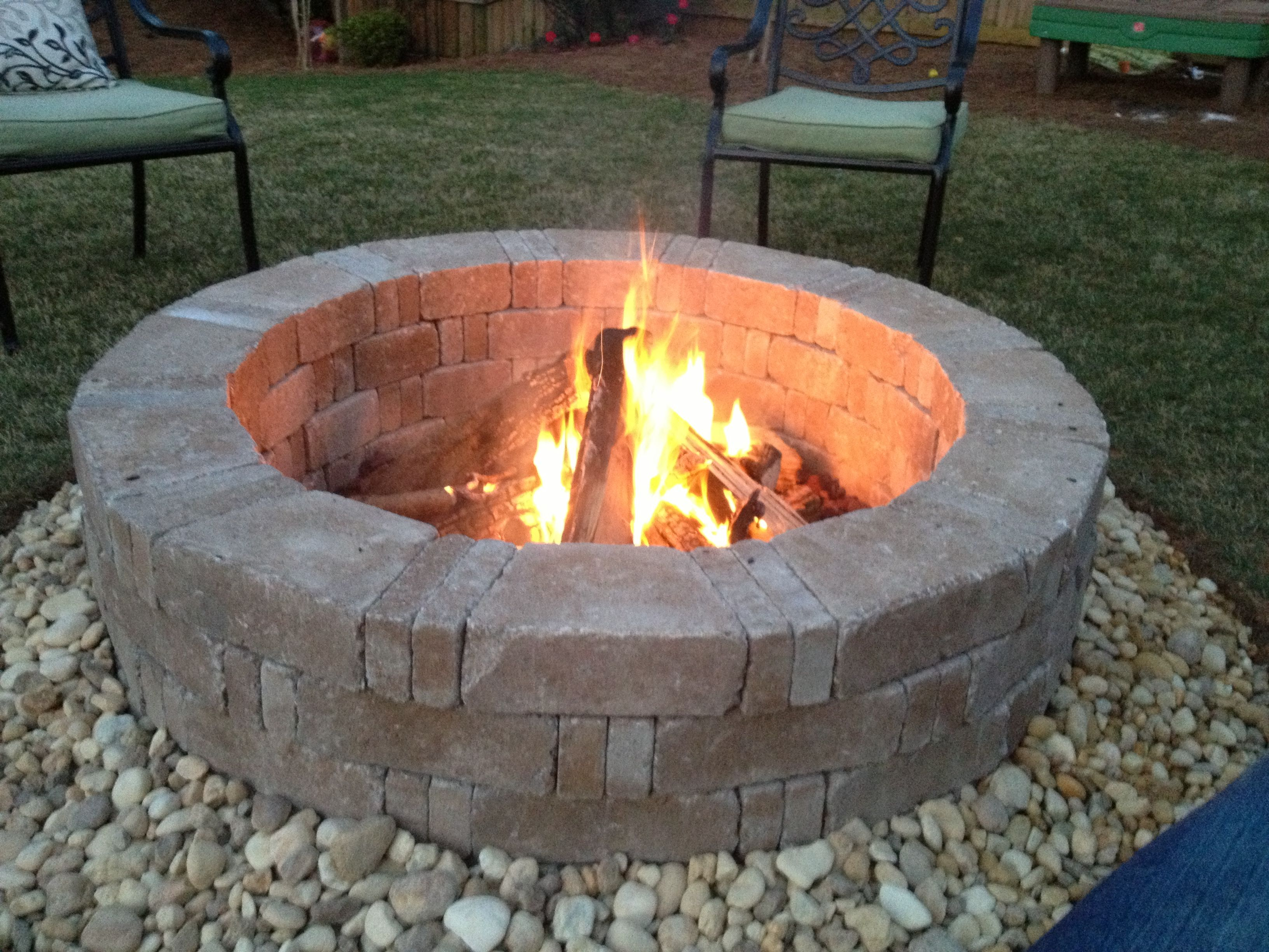 Rumblestone Firepit With River Stone Surround And Red Lava Rock within dimensions 3264 X 2448