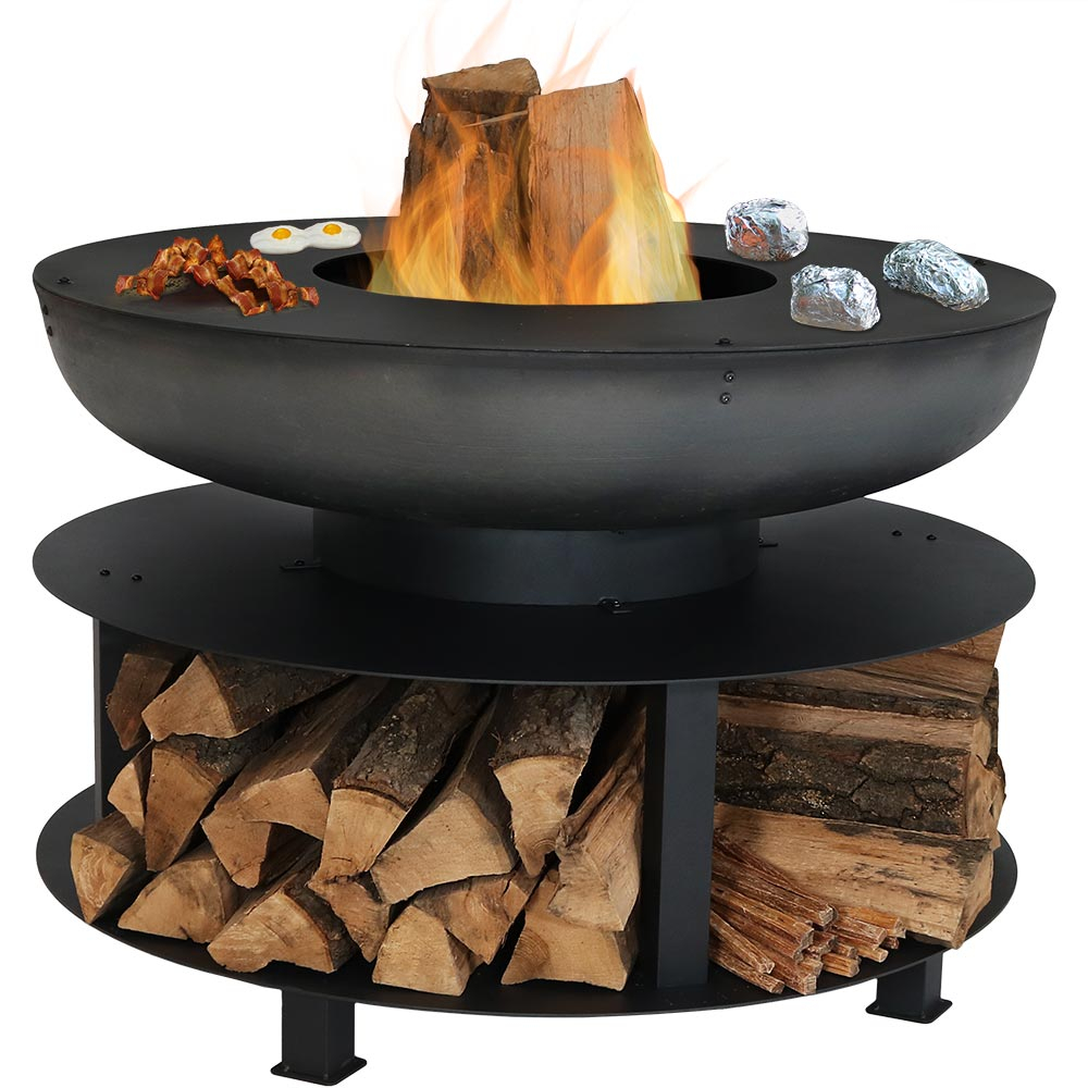 Serenity Health Sunnydaze Large Outdoor Fire Pit With Cooking Ledge within sizing 1000 X 1000