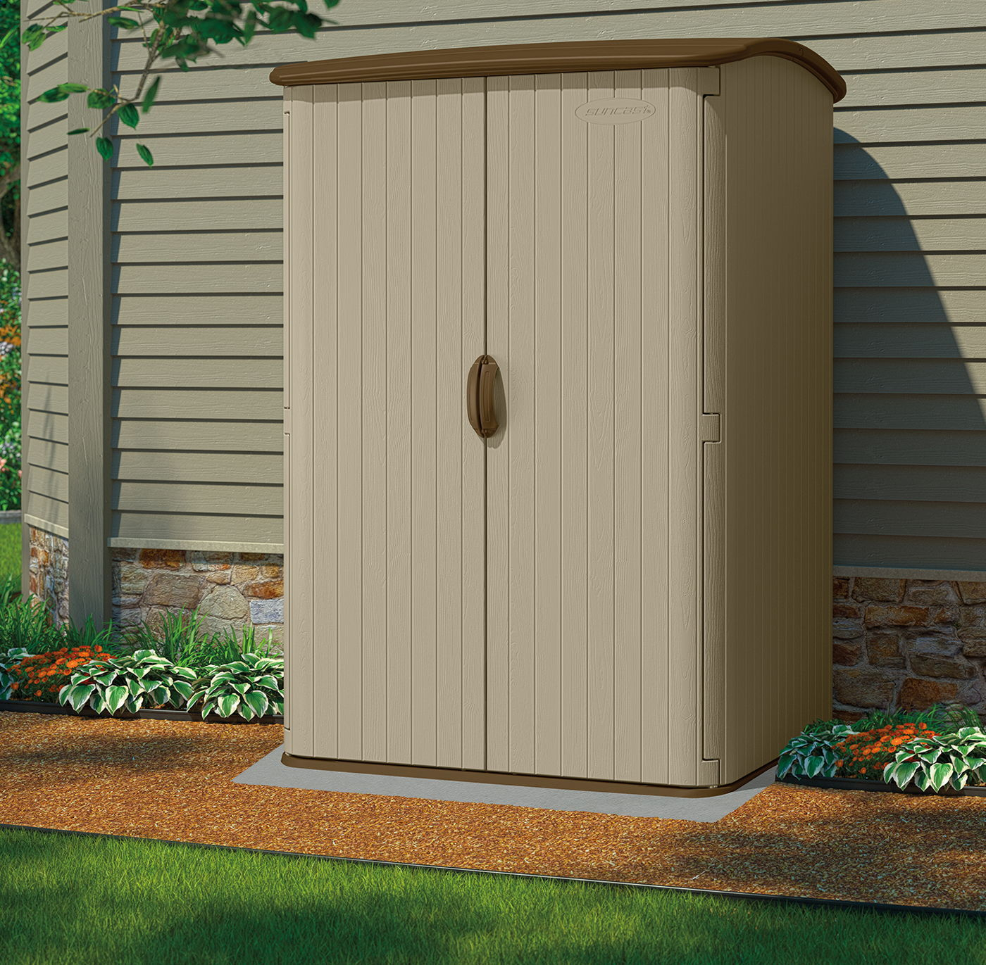 Suncast 5x4 Conniston Three Plastic Garden Shed intended for measurements 1400 X 1371