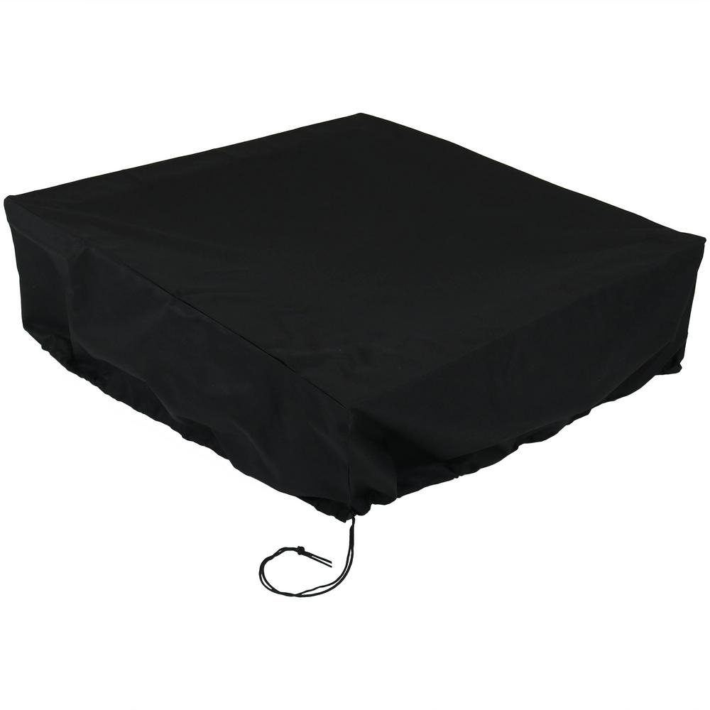 Sunnydaze Decor 36 In Sq X 12 In H Black Outdoor Fire Pit Cover intended for measurements 1000 X 1000