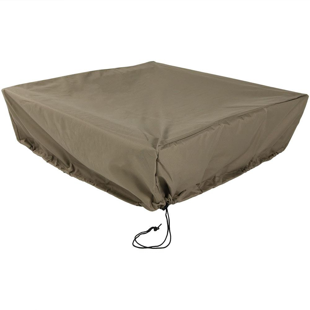 Sunnydaze Decor 48 In Square X 18 In H Khaki Protective Fire Pit with measurements 1000 X 1000