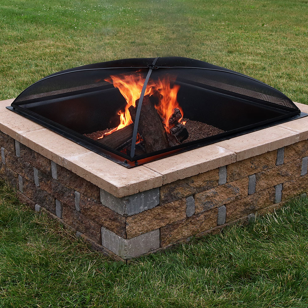 Sunnydaze Fire Pit Spark Screen Cover Outdoor Heavy Duty Square pertaining to sizing 1000 X 1000