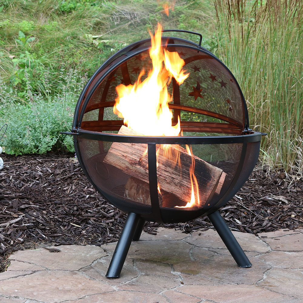 Sunnydaze Flaming Ball Fire Pit Steel Portable Wood Burning regarding size 1000 X 1000