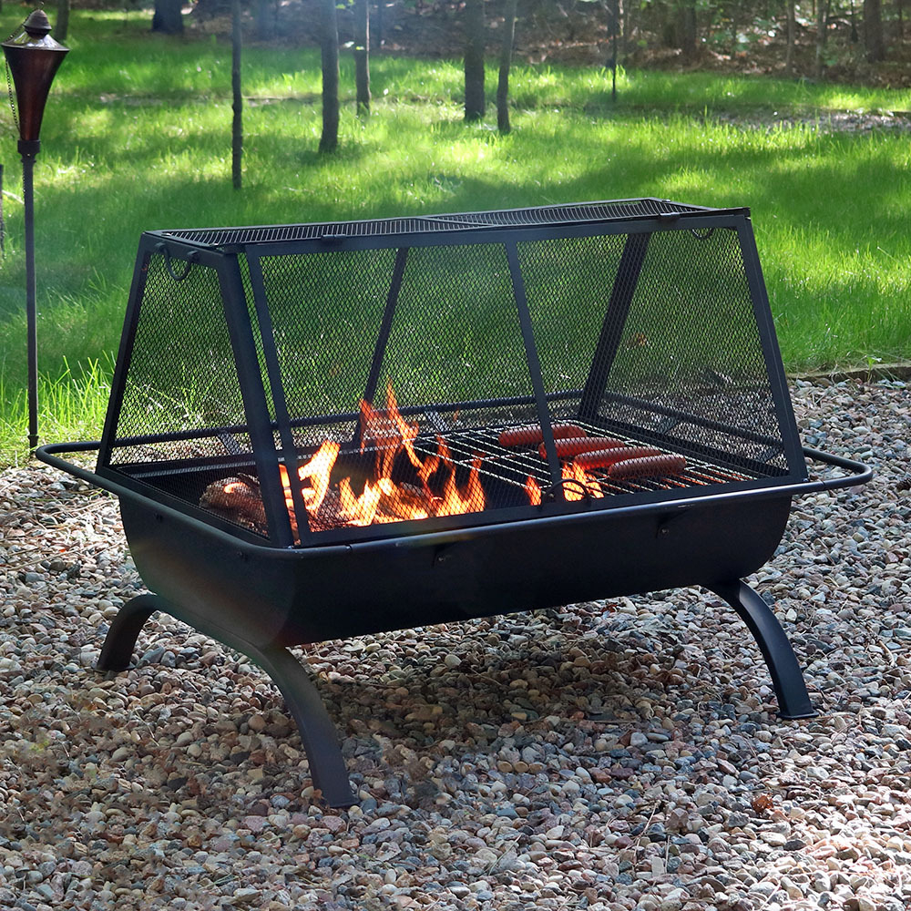Sunnydaze Northland Outdoor Fire Pit Grill With Spark Screen Wood with regard to sizing 1000 X 1000