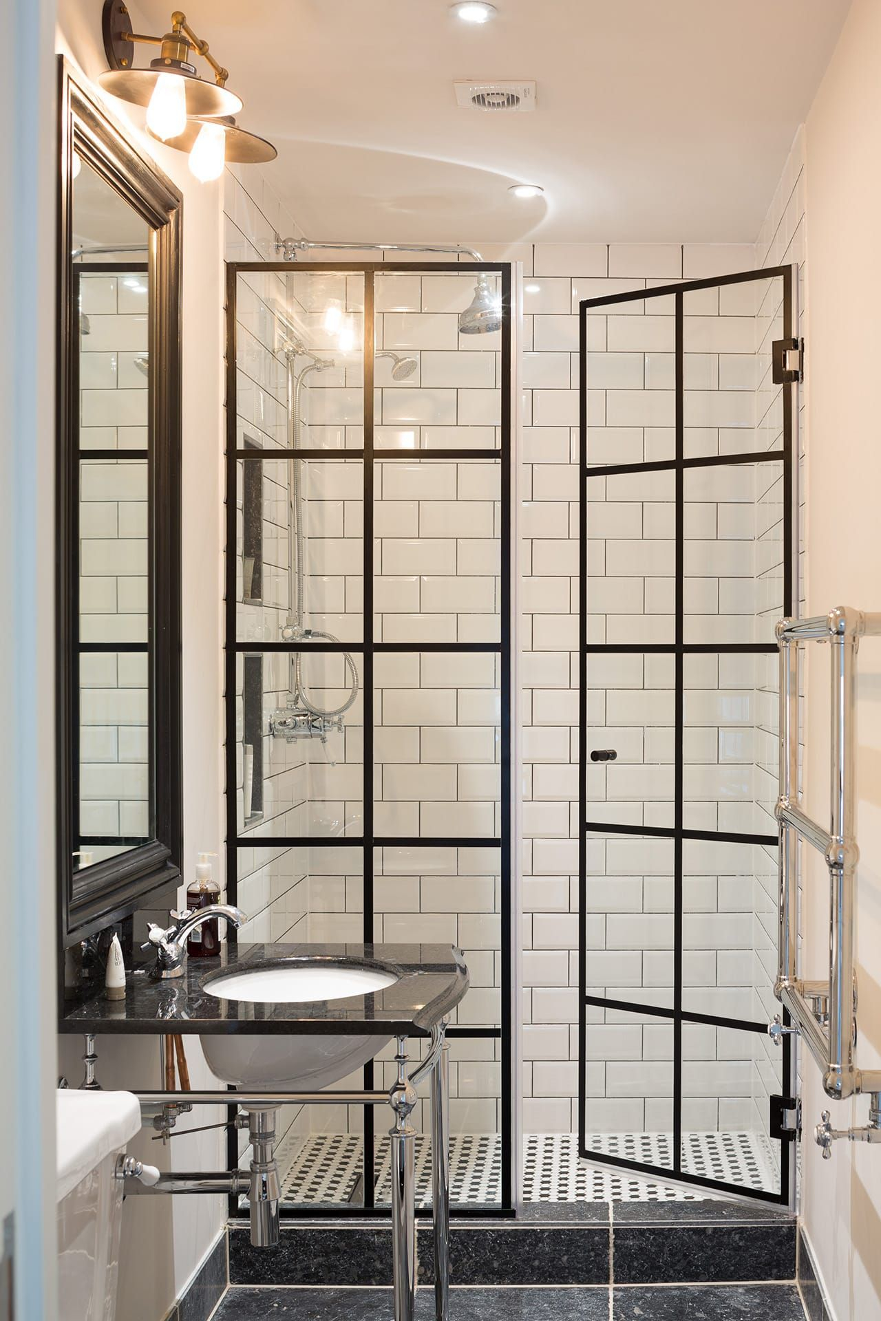 Take Standard Shower Doors And Add Lead Flashing For Crittal Effect within measurements 1280 X 1920
