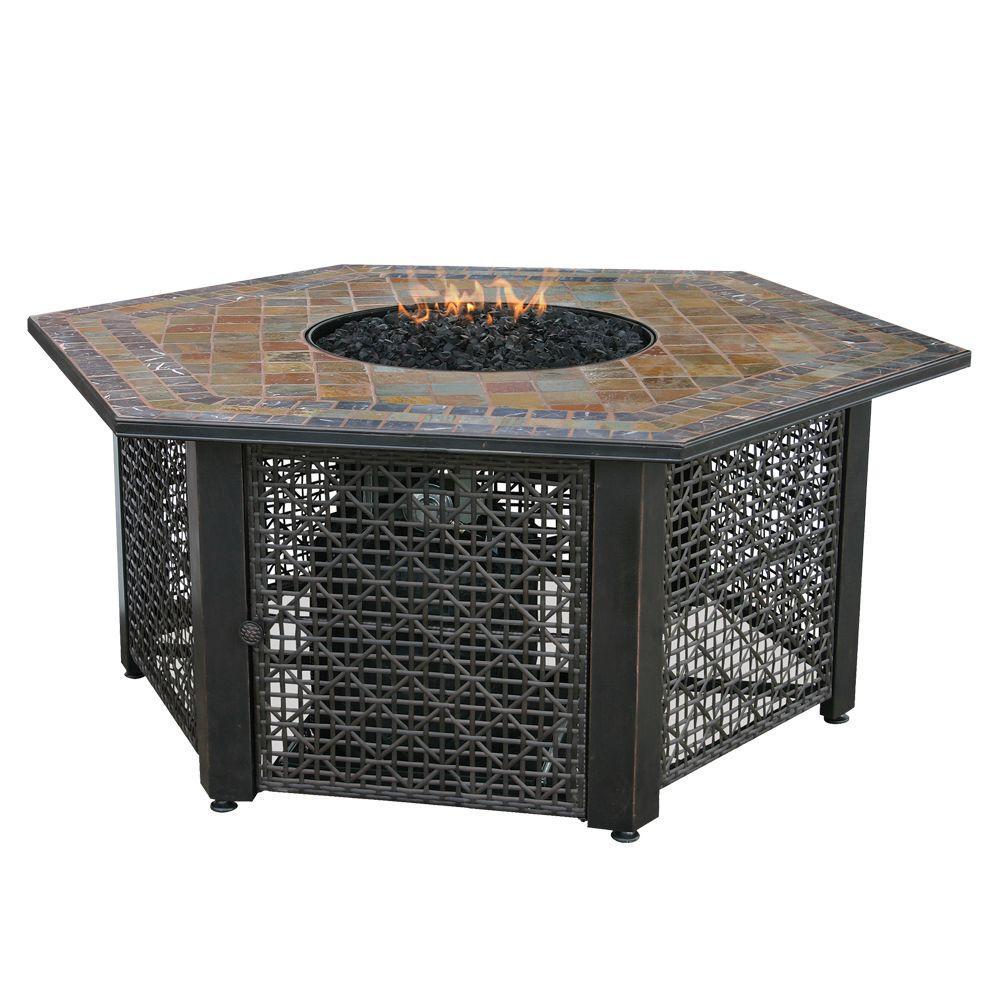 Uniflame 21 In Slate Tile Hexagon Propane Gas Fire Pit In Bronze inside measurements 1000 X 1000