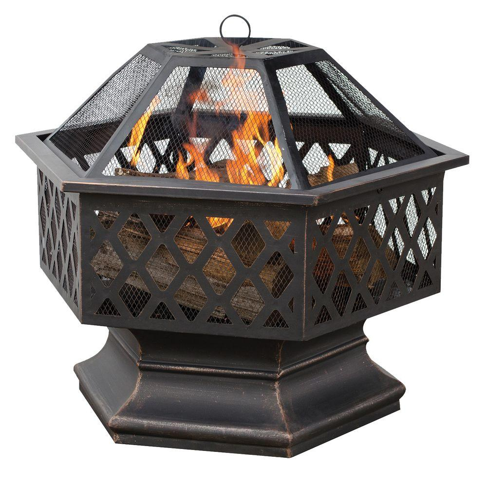 Uniflame 24 In Hex Shaped Lattice Fire Pit In Oil Rubbed Bronze with regard to measurements 1000 X 1000
