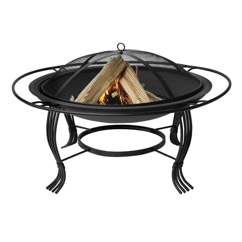 Uniflame 30 In Black Fire Pit With Outer Ring Wad1050sp The Home within measurements 1000 X 1000