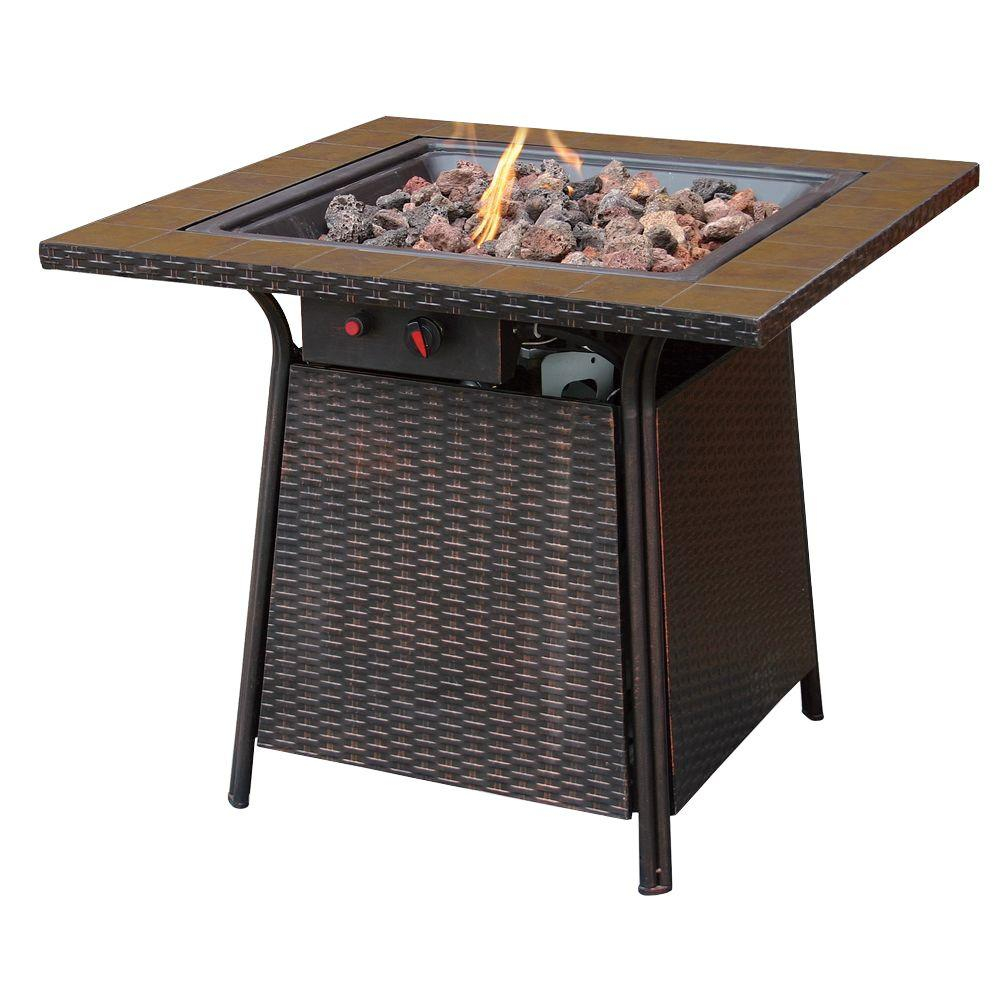 Uniflame Bronze Faux Wicker 32 In Propane Gas Fire Pit With Ceramic pertaining to size 1000 X 1000
