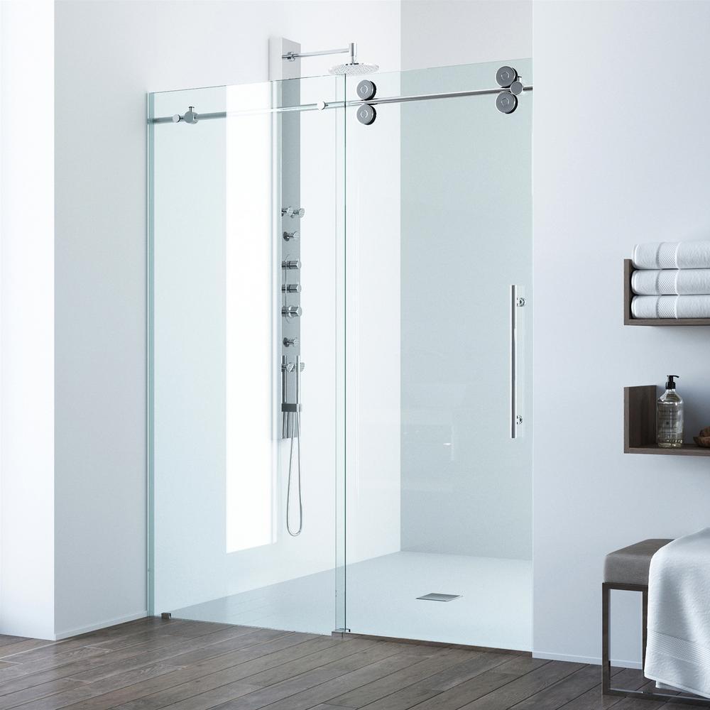 Vigo Elan 72 In X 74 In Frameless Sliding Shower Door In Chrome pertaining to dimensions 1000 X 1000
