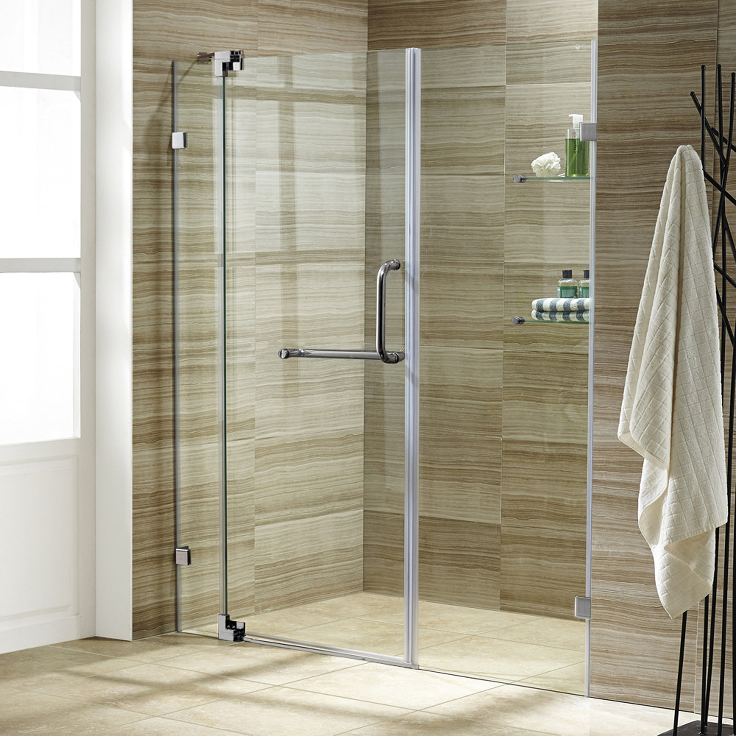 Vigo Pirouette 66 X 72 Pivot Frameless Shower Door Reviews Wayfair with size 1500 X 1500